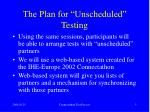 the plan for unscheduled testing