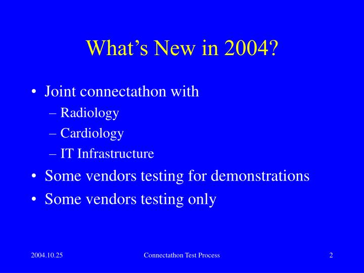 What's New in 2004?