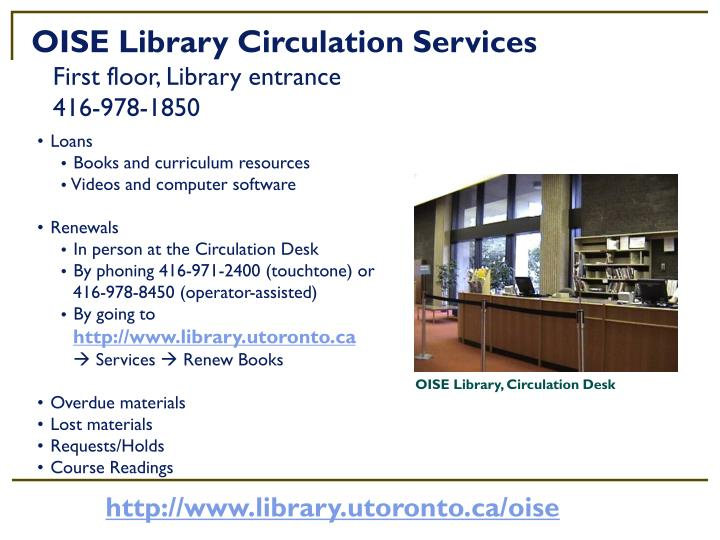 OISE Library Circulation Services