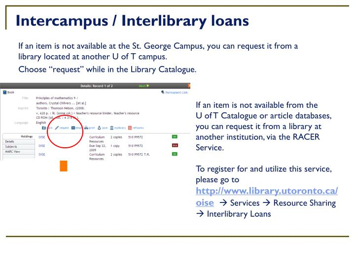 Intercampus / Interlibrary loans