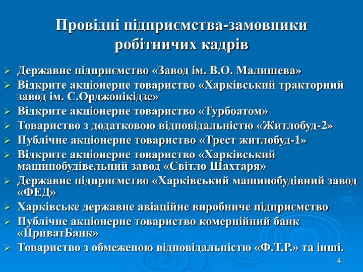 Провідні підприємства-замовники робітничих кадрів