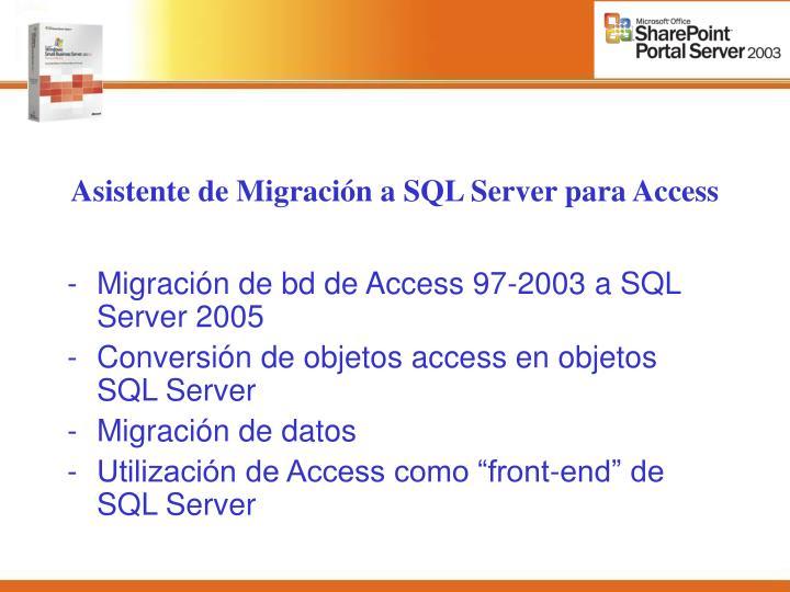 Asistente de Migración a SQL Server para Access