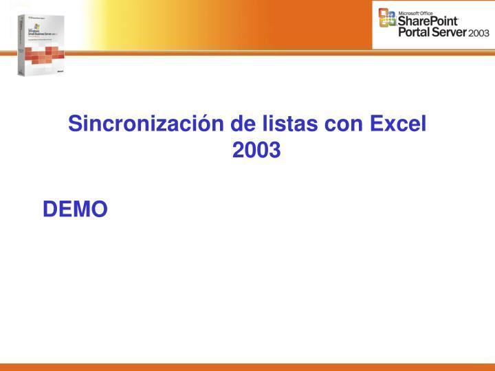 Sincronización de listas con Excel 2003
