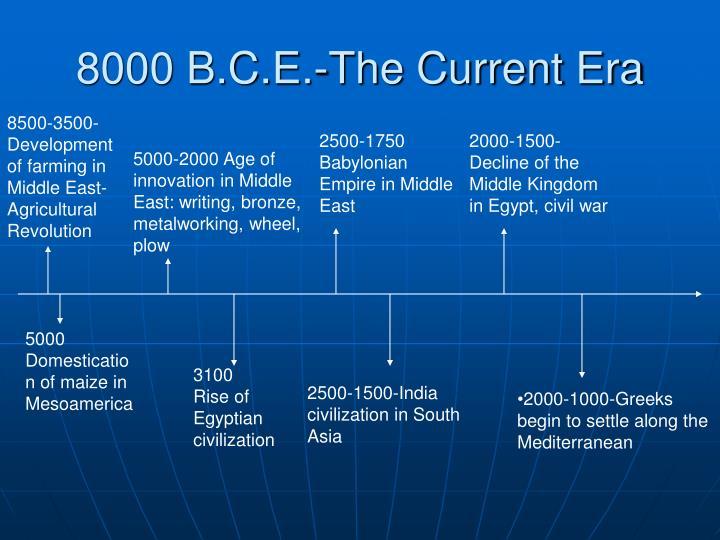 8000 B.C.E.-The Current Era