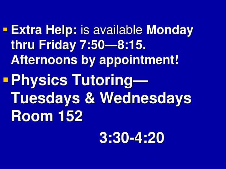 Extra Help: