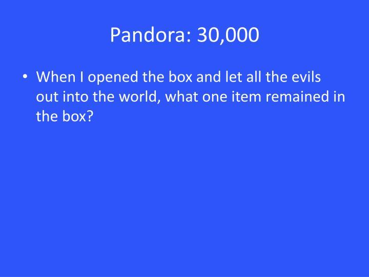 Pandora: 30,000