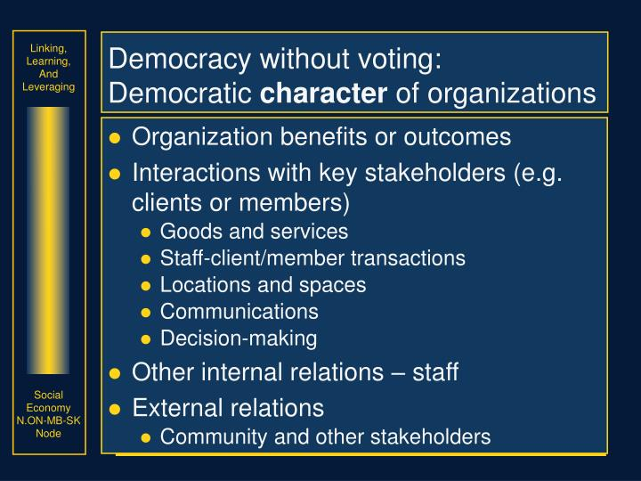 Democracy without voting: