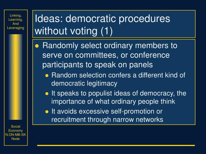 Ideas: democratic procedures without voting (1)