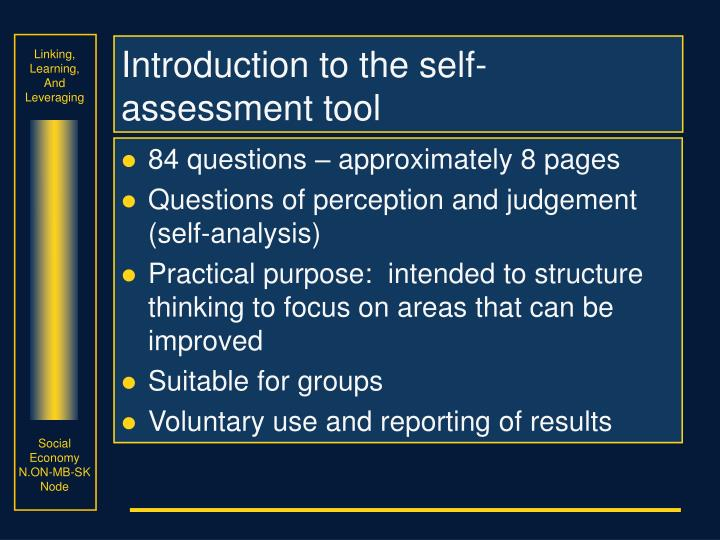 Introduction to the self-assessment tool