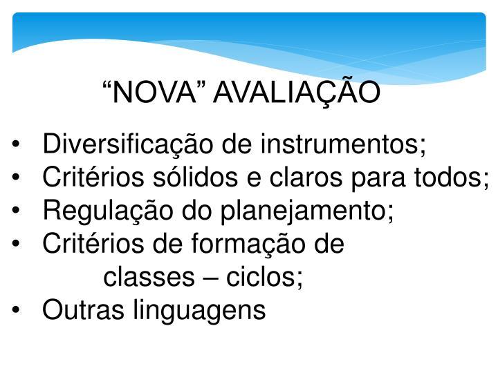 """""""NOVA"""" AVALIAÇÃO"""