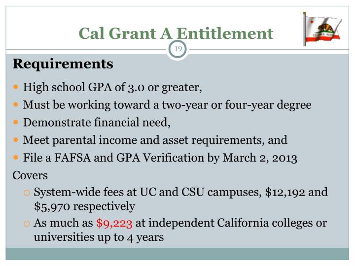 Cal Grant A Entitlement