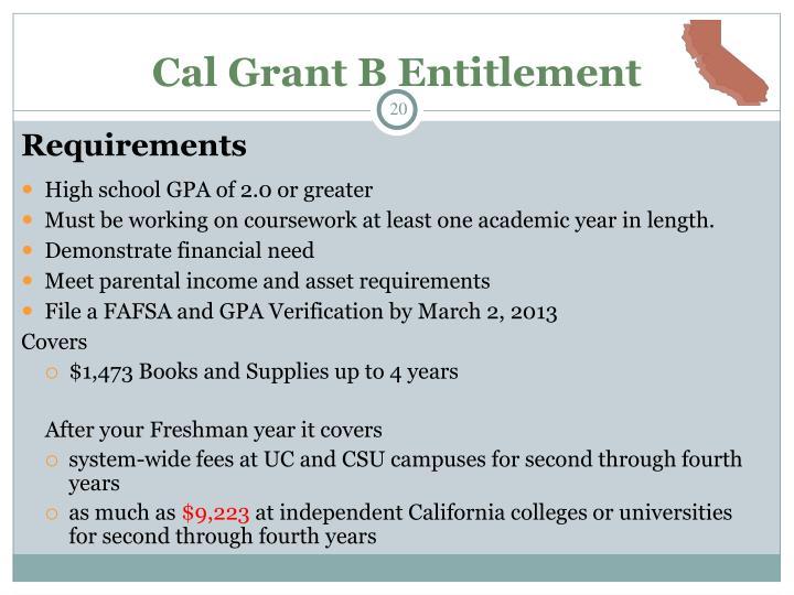 Cal Grant B Entitlement