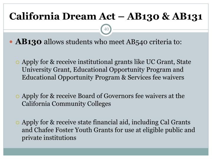 California Dream Act – AB130 & AB131