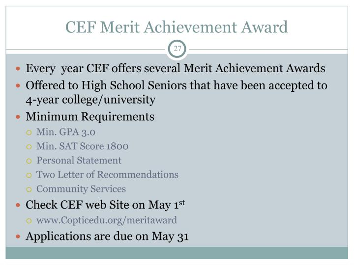 CEF Merit Achievement Award