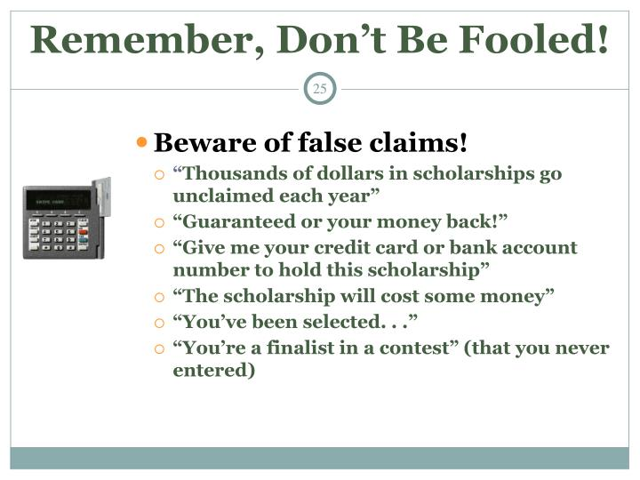 Remember, Don't Be Fooled!