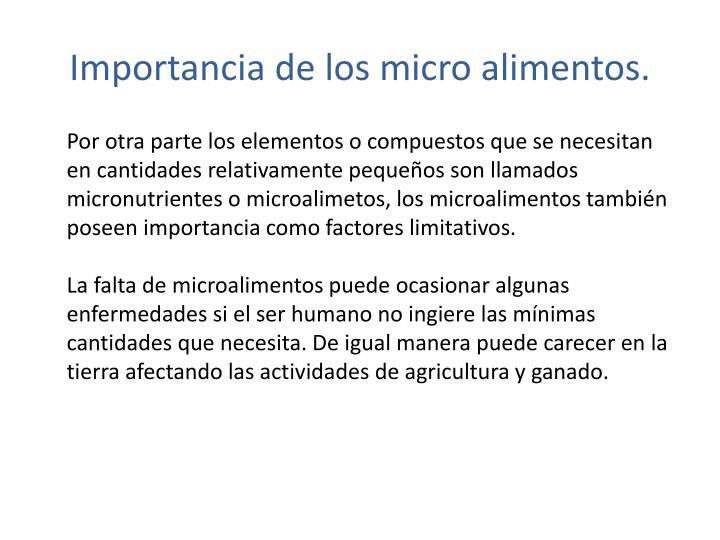 Importancia de los micro alimentos.