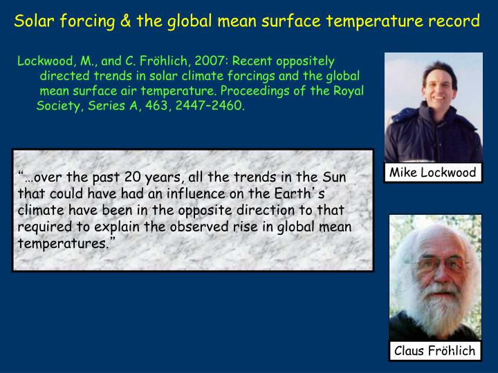 Solar forcing & the global mean surface temperature record
