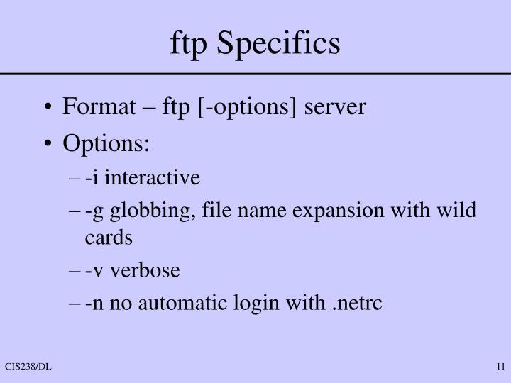 ftp Specifics