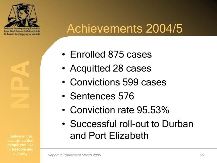Achievements 2004/5