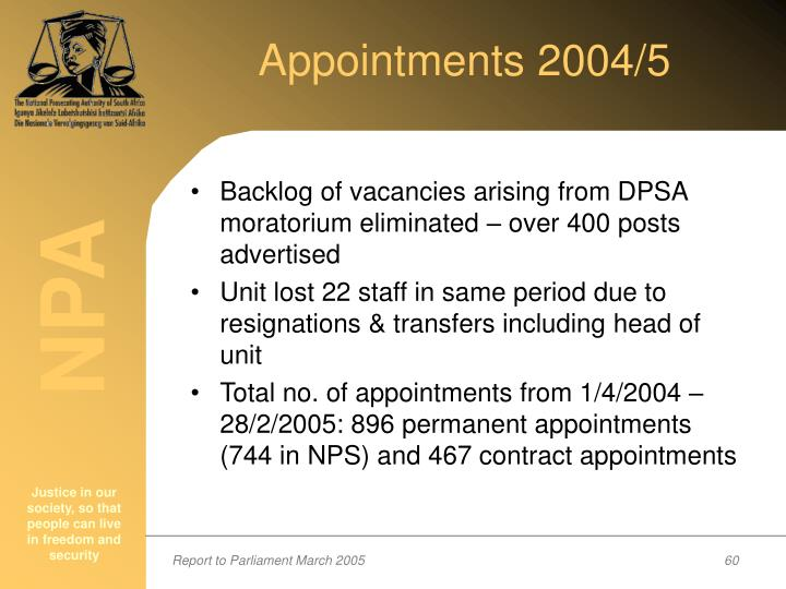 Appointments 2004/5