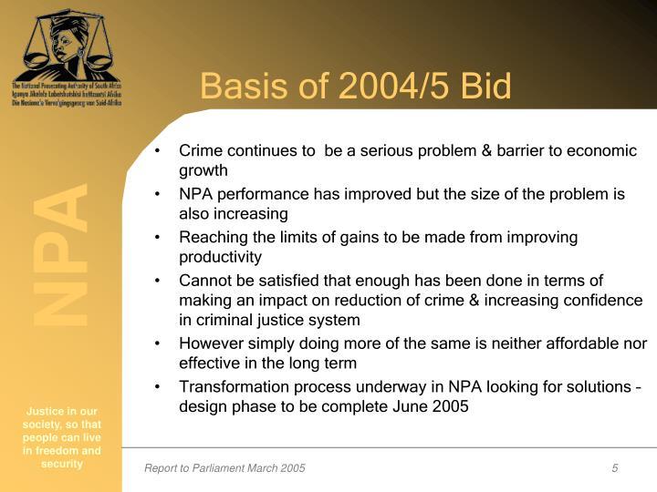 Basis of 2004/5 Bid