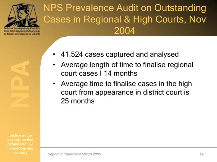 NPS Prevalence Audit on Outstanding Cases in Regional & High Courts, Nov 2004