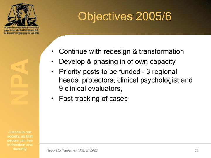 Objectives 2005/6