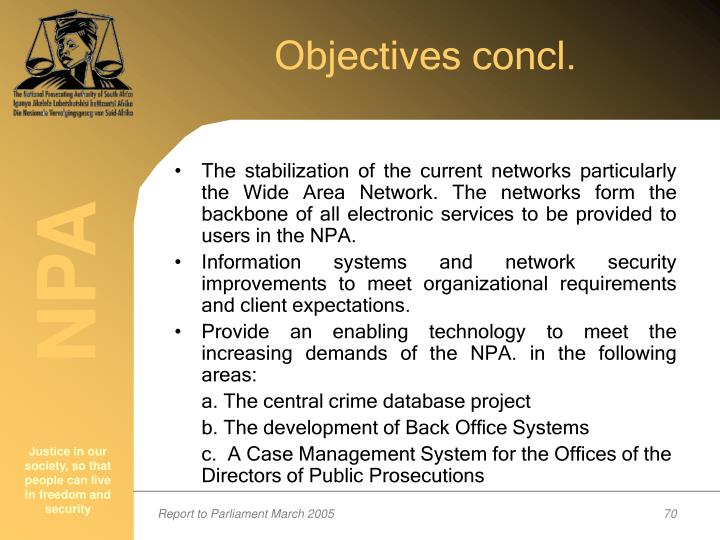 Objectives concl.