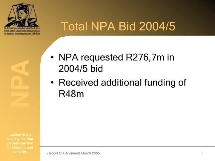 Total NPA Bid 2004/5