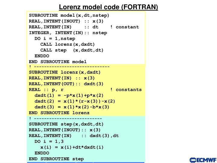 Lorenz model code (FORTRAN)