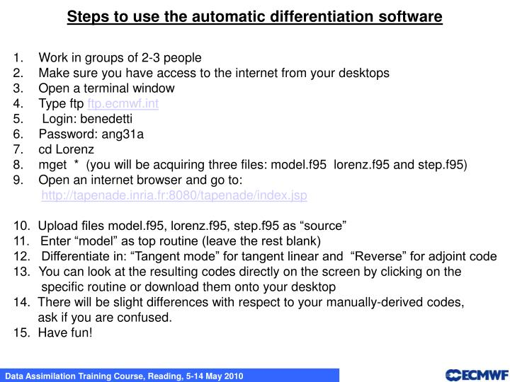 Steps to use the automatic differentiation software
