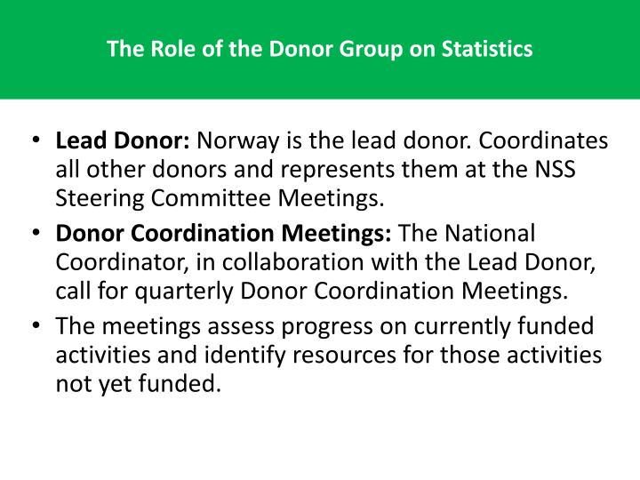 The Role of the Donor Group on Statistics