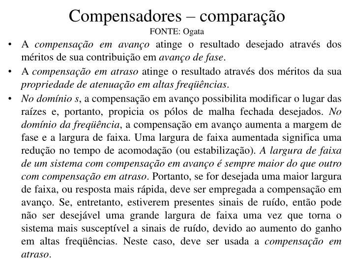 Compensadores – comparação