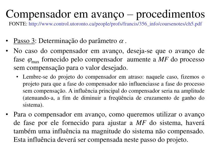 Compensador em avanço – procedimentos