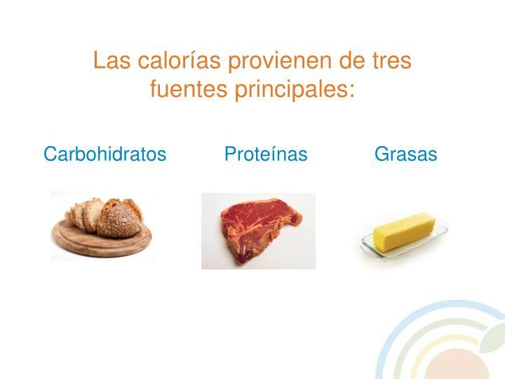 Las calorías provienen de tres