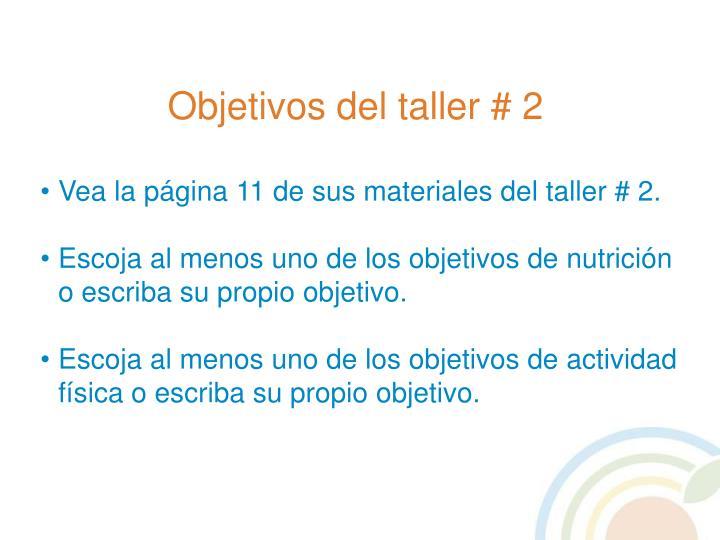Objetivos del taller # 2