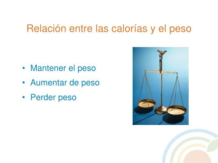 Relación entre las calorías y el peso