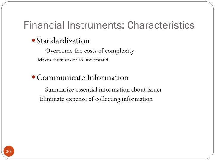 Financial Instruments: Characteristics