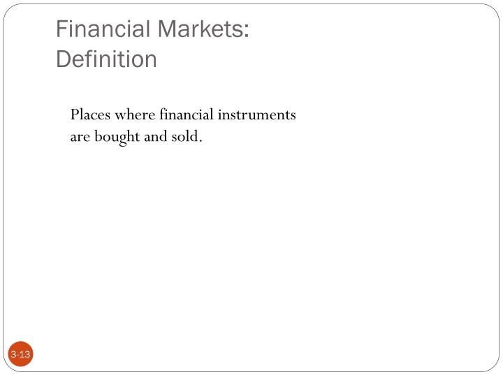 Financial Markets: