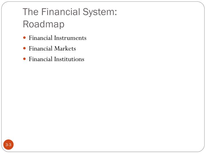 The financial system roadmap
