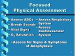 focused physical assessment