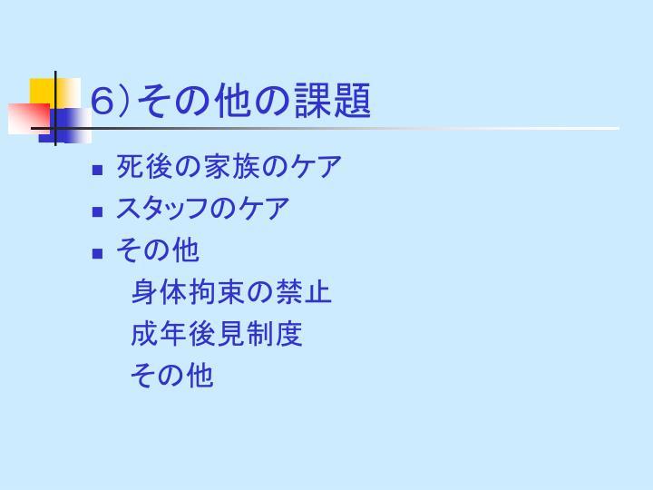 6)その他の課題