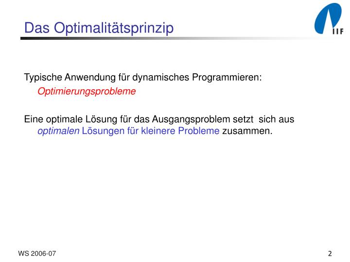 Das optimalit tsprinzip