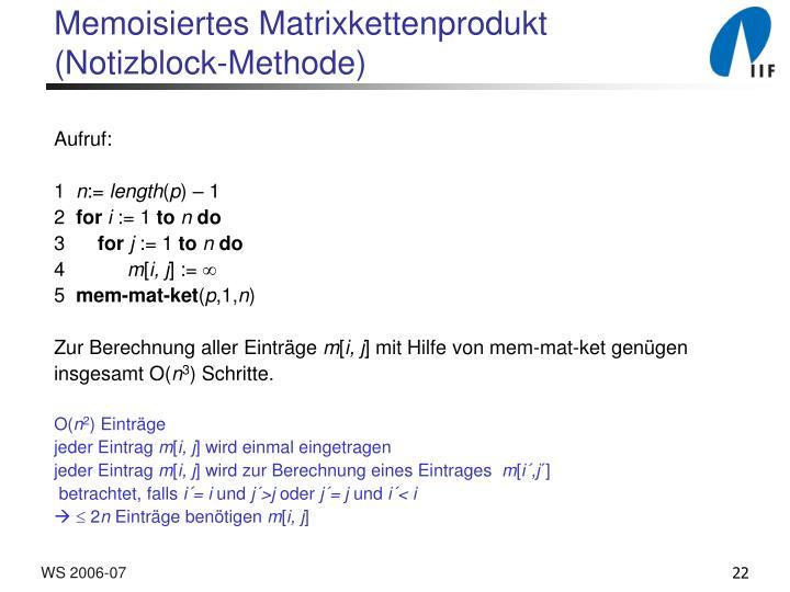 Memoisiertes Matrixkettenprodukt
