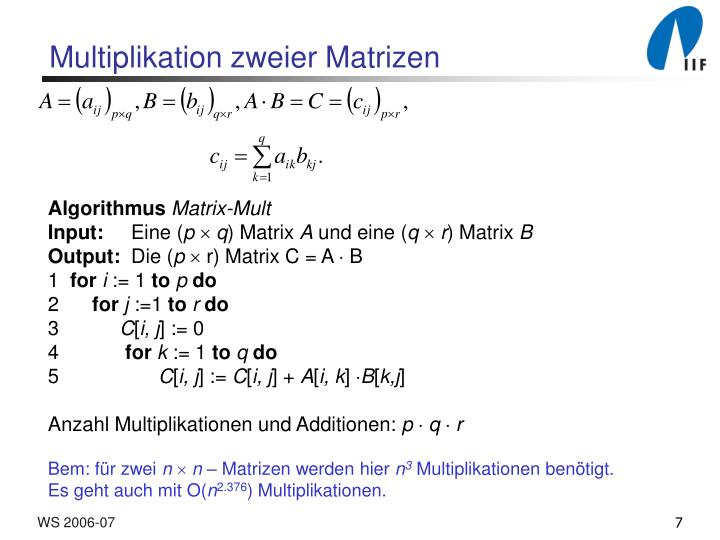 Multiplikation zweier Matrizen