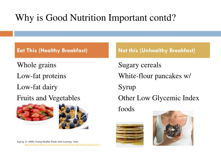 Why is Good Nutrition Important contd?
