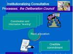 institutionalizing consultative processes the deliberation council