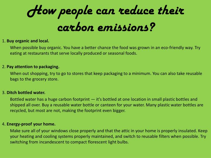 How people can reduce their carbon emissions