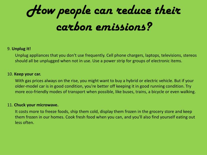 How people can reduce their carbon emissions?