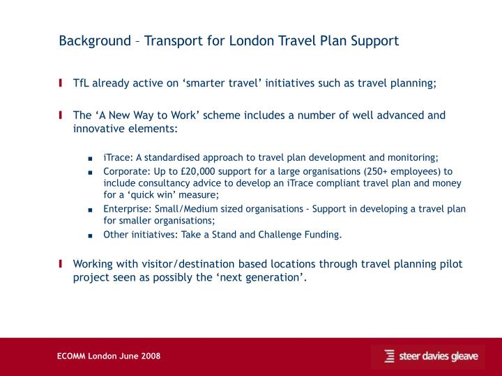 Background – Transport for London Travel Plan Support